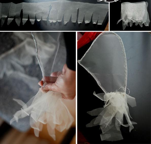 Крылья ангела из вешалки и тюли