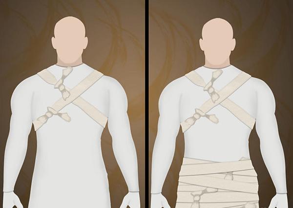 как связать на себе бинты для костюма мумии