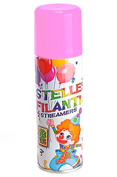 Спрей серпантин розовый