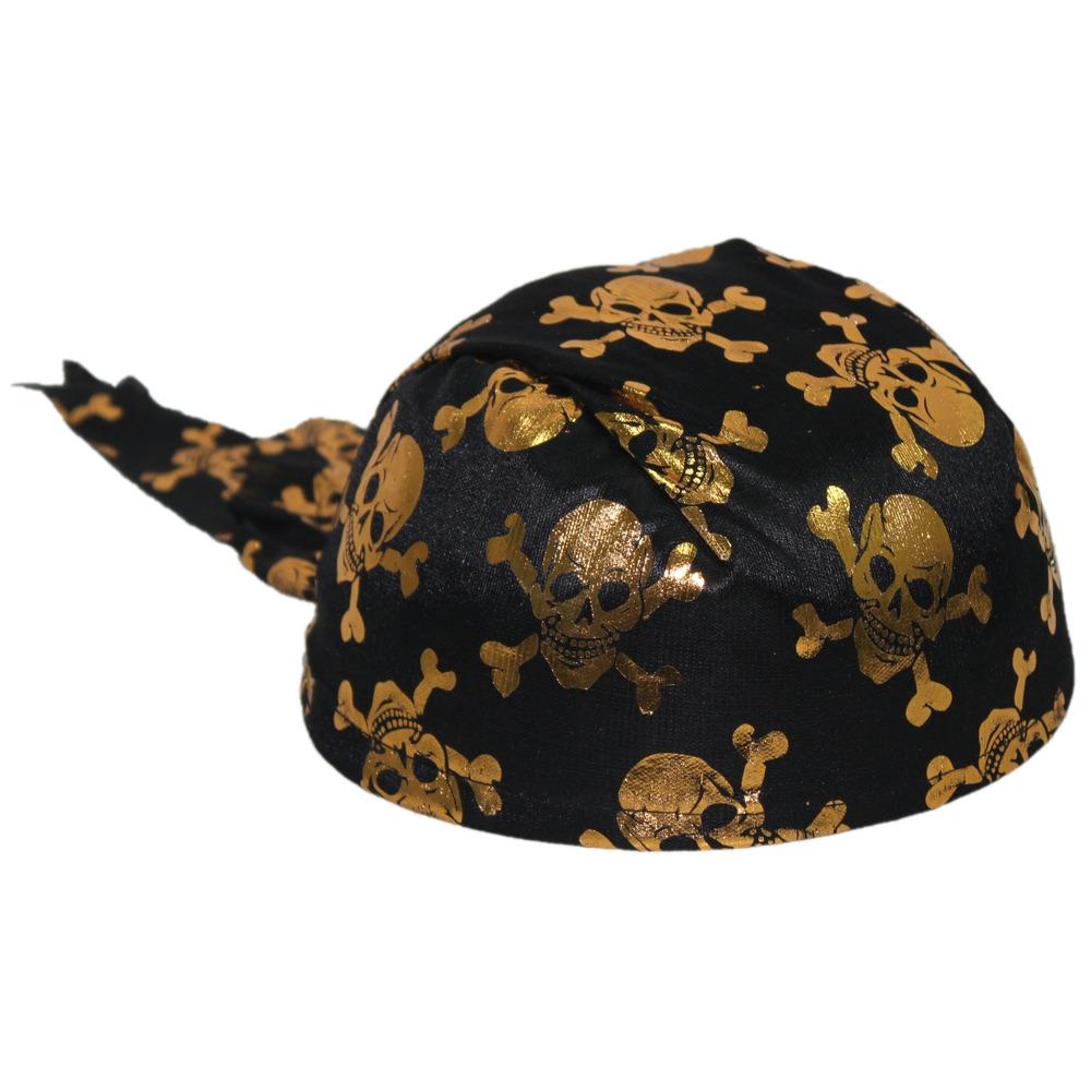 Бандана пиратская черная с золотыми черепами