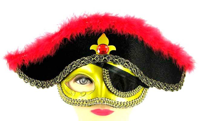Полумаска пирата со шляпой