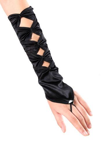 Черные перчатки без пальцев с бантами
