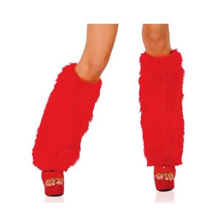 Красные меховые накладки на сапоги макси