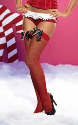 Красные чулки в сетку новогодние