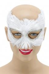 Белая перьевая маска