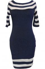 Синее платье со вставками