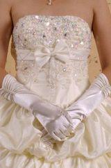 Жемчужные атласные перчатки
