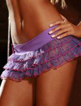 Фиолетовая юбка в горошек